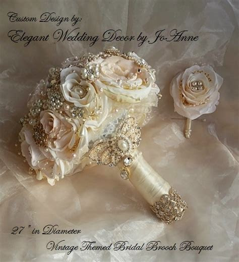 Rose Gold Bridal Brooch Bouquet, Blush Pink And Ivory Rose