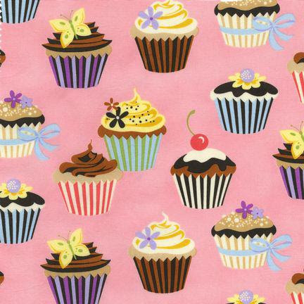 Robert Kaufman Sweet Tooth Cupcake Petal Pink Fabric