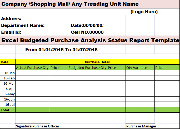 Purchases Reports – Free Report Templates