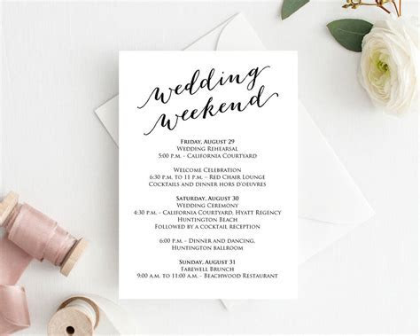 Wedding Weekend Itinerary Card · Wedding Templates and