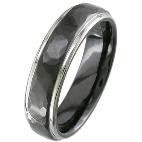 Hammered Effect Two Tone Black Zirconium Wedding Ring