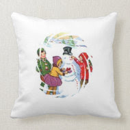Vintage Snowman with Children Pillows