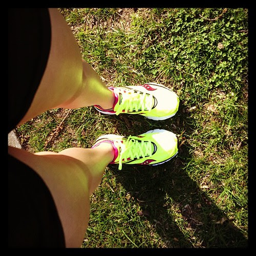 Taking my new Sauconys for a spin. Why yes they are so bright they reflect off my shins. #findyourstrong