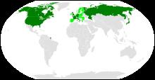 समूह-8 सदस्यों और यूरोपियन संघ सदस्यों का मानचित्र