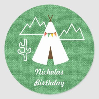 Native American Birthday Party Favor Sticker