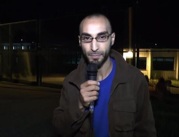 Imagem de vídeo retirado do YouTube mostra o homem apontado como o terceiro suspeito de ataque ao aeroporto da Bélgica, Fayçal Cheffou, liberado por falta de provas