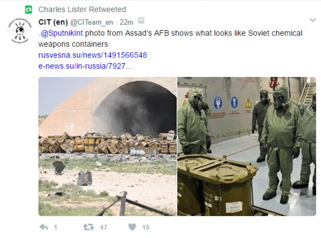 An collage on social media suggested some of the containers damaged in last night's strike, left, looked similar to Russian chemical weapons stores from the mid 1990s
