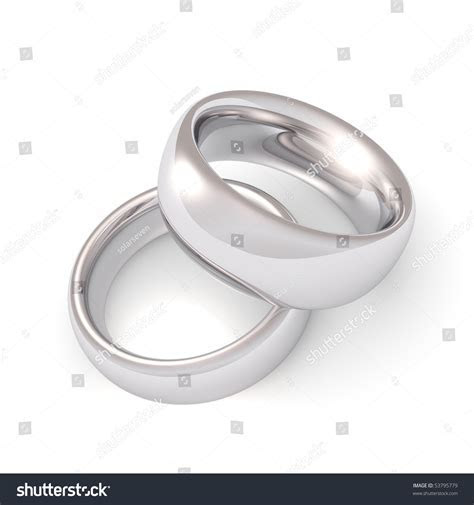 A His And Hers Set Of Platinum Wedding Bands. Stock Photo