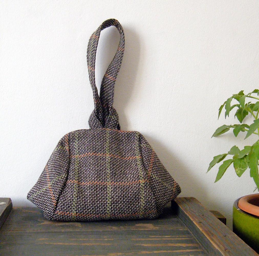 Brown and grey tartan evening bag
