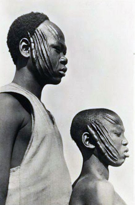 Africa | Sarra men in French Equatorial Africa (now Gabon, the Republic of the Congo, the Central African Republic and Chad). | © Casimir Zagourski African postcards, 1924-1941 (inclusive). Manuscripts & Archives, Yale University