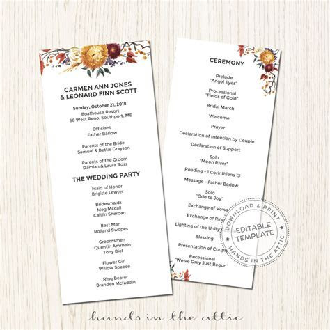 Fall Wedding Program   Printable Template   Hands in the Attic