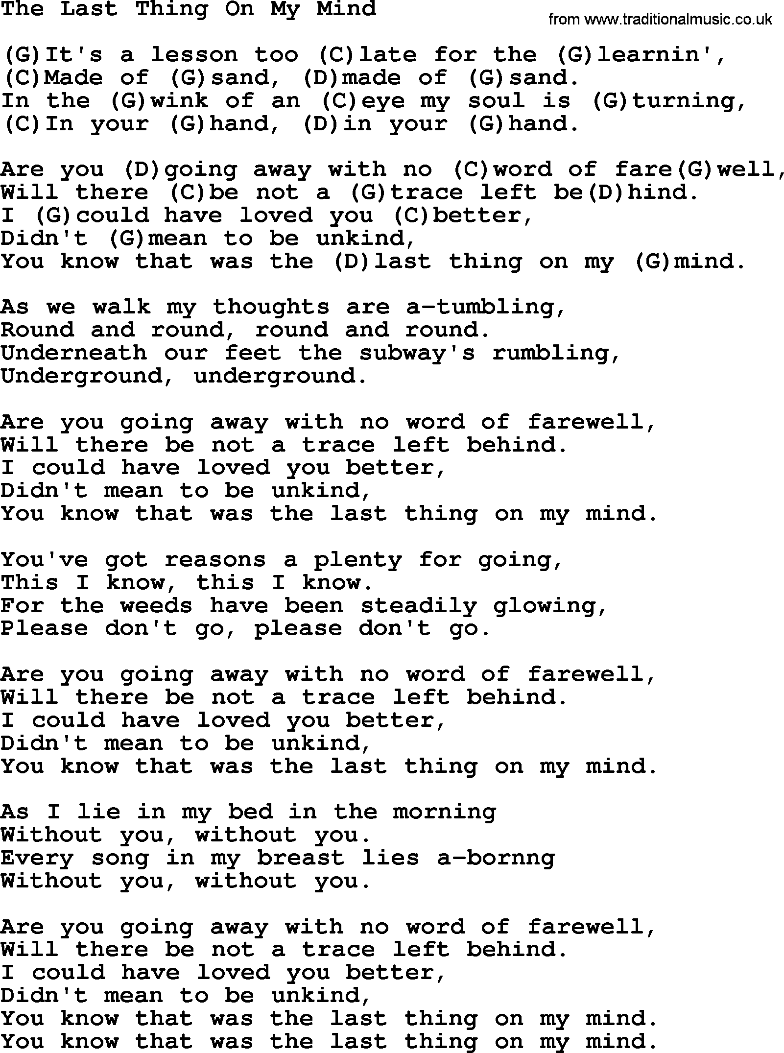 The Last Thing On My Mind By Tom Paxton Lyrics And Chords