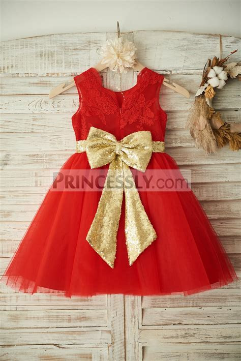 Red Lace Tulle Wedding Flower Girl Dress Christmas Party
