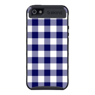 Navy and White Gingham Pattern iPhone 5 Covers
