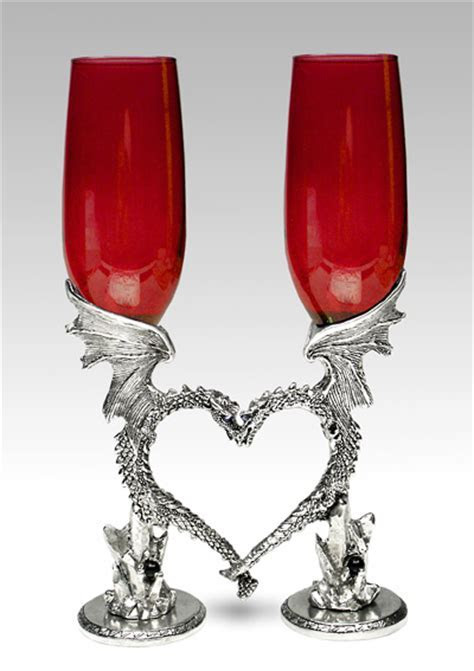 Dragon Heart Glasses / Flutes Wedding Wine Glasses by