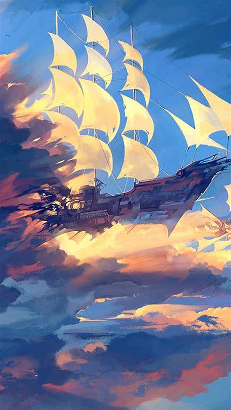 papersco iphone wallpaper az fly ship anime illustration art blue
