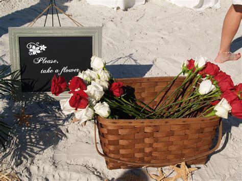 Take a Flower Sign & Basket   Beach and Destination