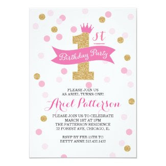 "Birthday Party | First Birthday Princess 5"" X 7"" Invitation Card"