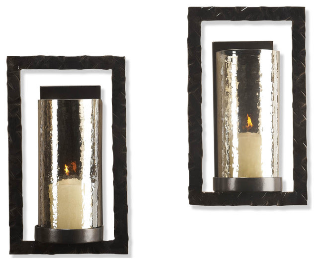 Pair Tomar Contemporary Oiled Bronze Rectangle Wall Sconce ...
