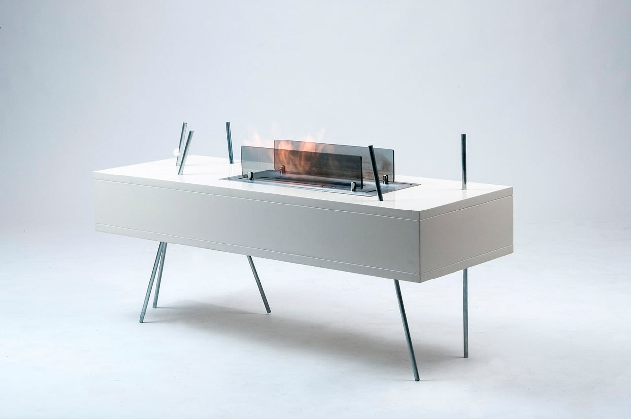 Modern Freestanding Fireplace and Coffee Table in One - Design Milk