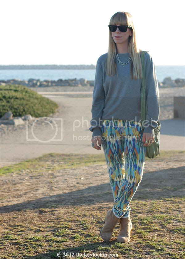 J crew gray cashmere blend sweater, Current/Elliott multi arrow stiletto jeans, J. Crew sweater, southern California style, Los Angeles fashion blog
