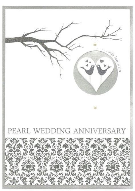 Love Birds Pearl Wedding Anniversary Card   Karenza Paperie