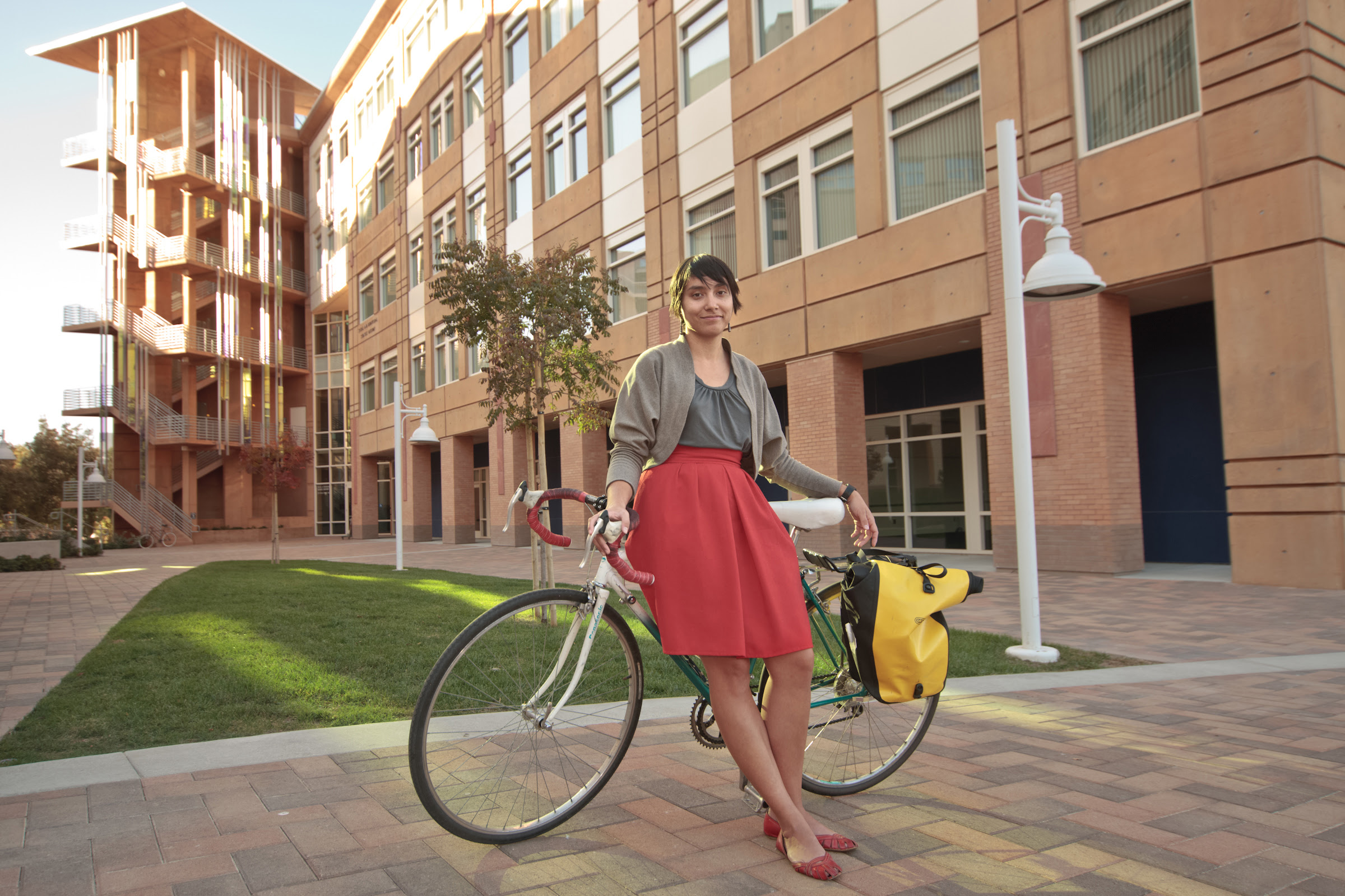 Caption:  Adonia Lugo, a UC Irvine doctoral candidate in anthropology, has dedicated much of her academic and personal life to alternative transportation; everyday, she uses a combination of buses, trains, and bicycling to commute to Irvine from Los Angel