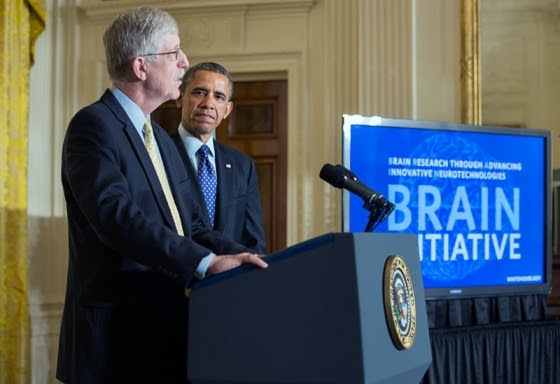Photo of Dr. Francis Collins, NIH Director, introducing the President of the United States, Barak Obama, at the BRAIN Initiative announcement