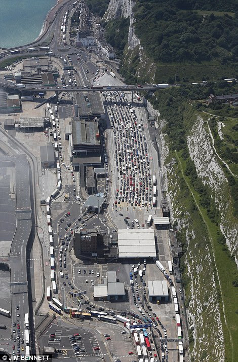Cars and lorries could be seen queuing as they waited to enter the port