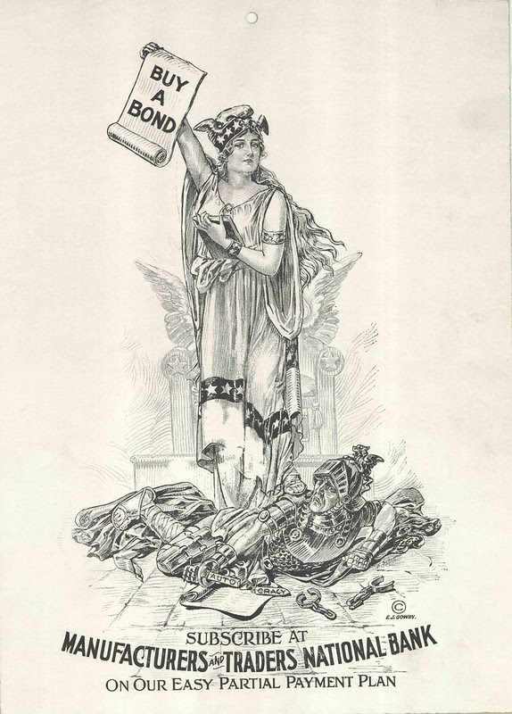 B&W illustration of classical history woman (?Greek goddess) asking citizens to buy bonds