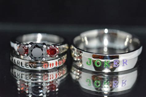 harley  joker rings black diamond cz  garnet cz