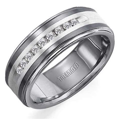 Triton Tungsten Carbide Diamonds Band with Sterling Silver