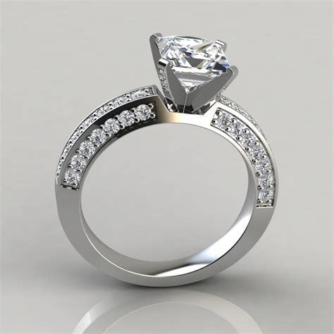 Princess Cut Three Sided Pave Engagement Ring   Forever