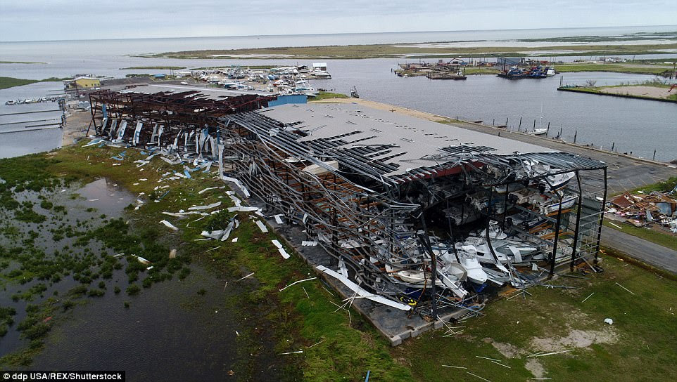 An aerial view of Cove Harbor Marina in Rockport, Texas, on Sunday morning after the storm had passed