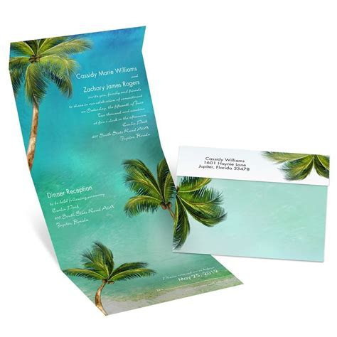 Watercolor Palm Trees Seal and Send Invitation   Ann's