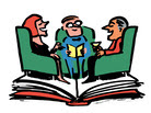 Illustration of a book club meeting.