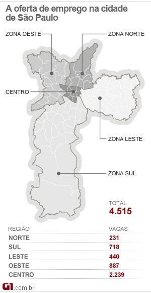 Mapa do emprego de SP - 27/02/13 (Foto: Editoria de arte/G1)