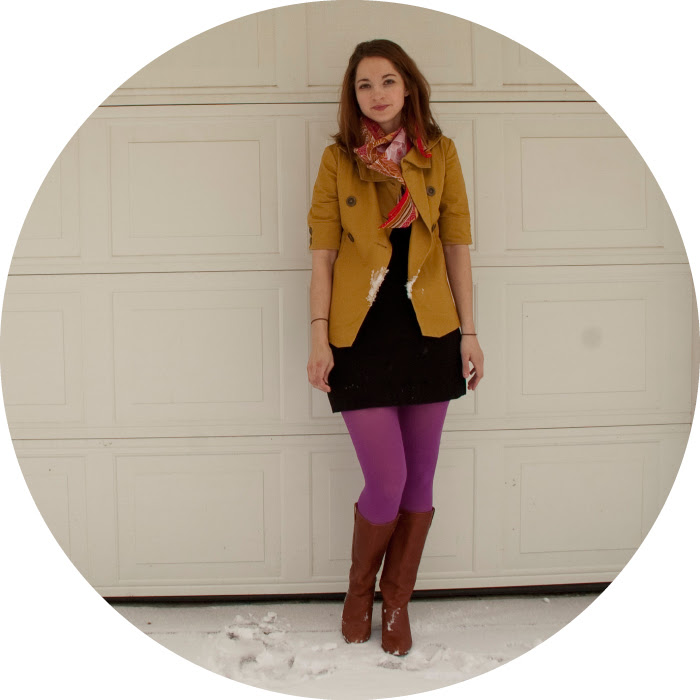 magenta mustard jacket brooklyn industries banana republic tights boots scarf vintage red floral color colour brights