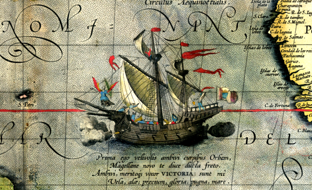 Ficheiro:Detail from a map of Ortelius - Magellan's ship Victoria.png
