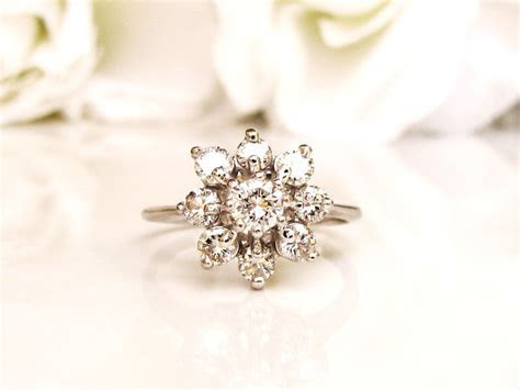 Vintage Floral Diamond Engagement Ring 1.00ctw Diamond