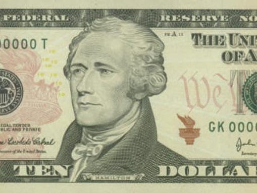 Ten-dollar bill features Alexander Hamilton