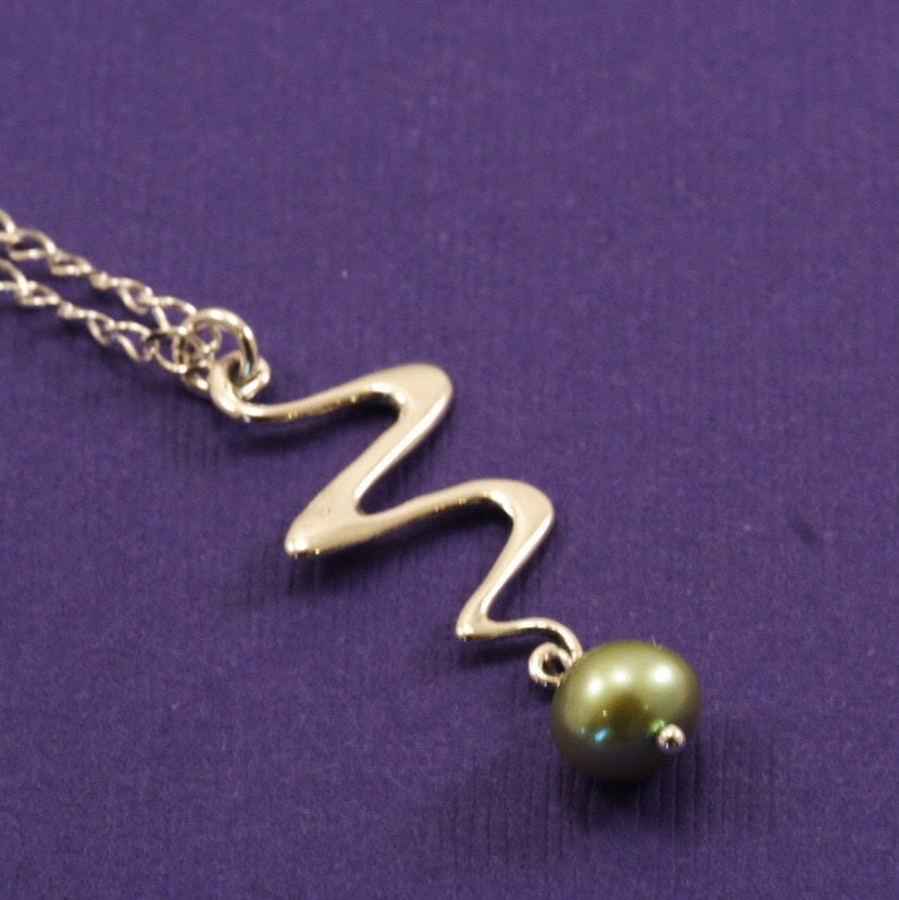Silver Squiggle Pearl Necklace