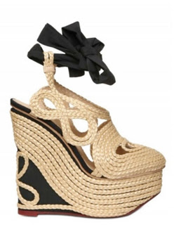 Charlotte Olympia 106mm Straw & Silk Wedges