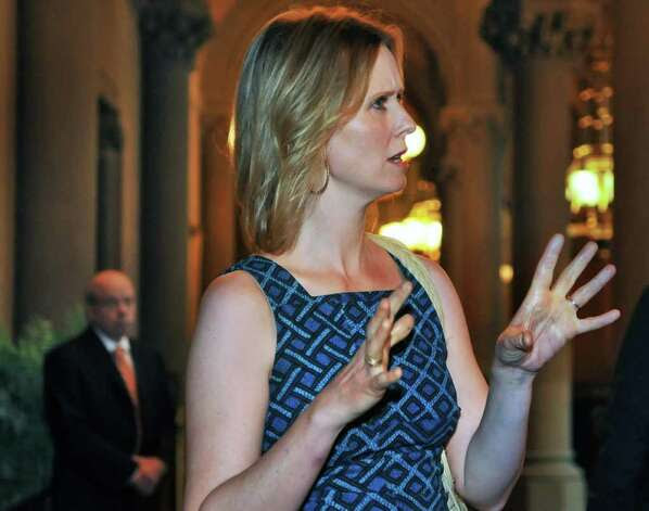 ?Sex and The City? star Cynthia Nixon speaks to supporters before a news conference calling on the state legislature to legalize same-sex marriage at the Capitol Tuesday June 14, 2011.   (John Carl D'Annibale / Times Union) Photo: John Carl D'Annibale / AL