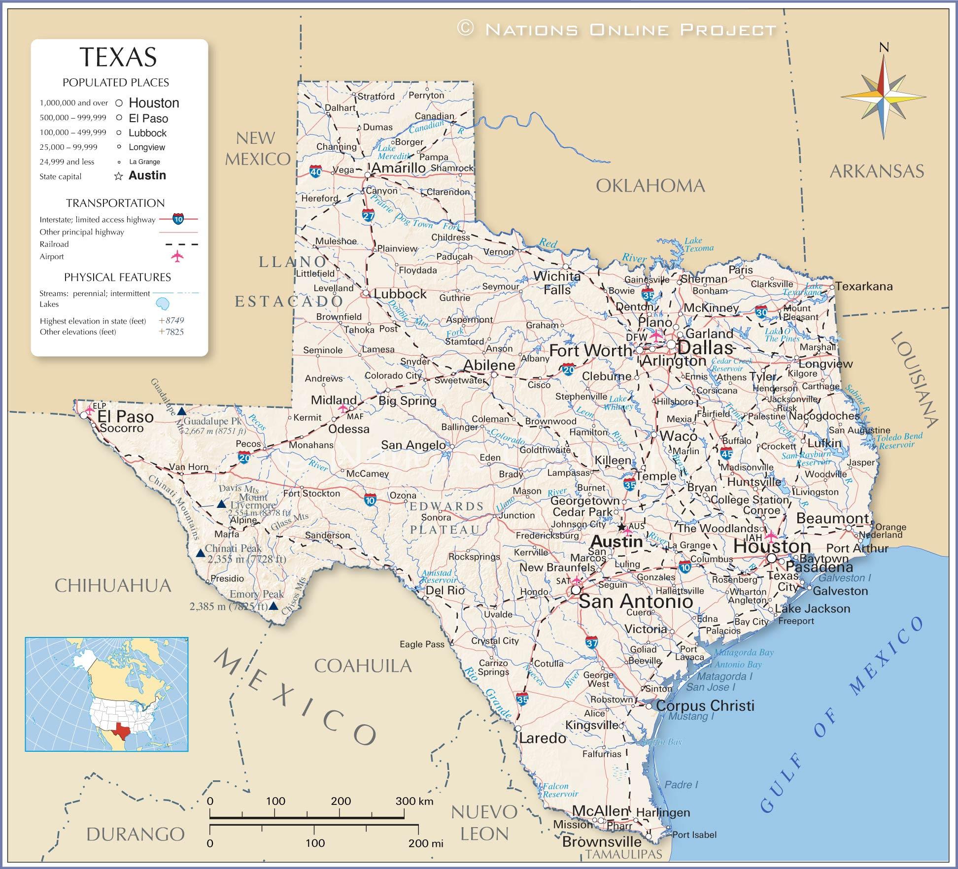 Maps Usa Map Texas - Us map texas cities
