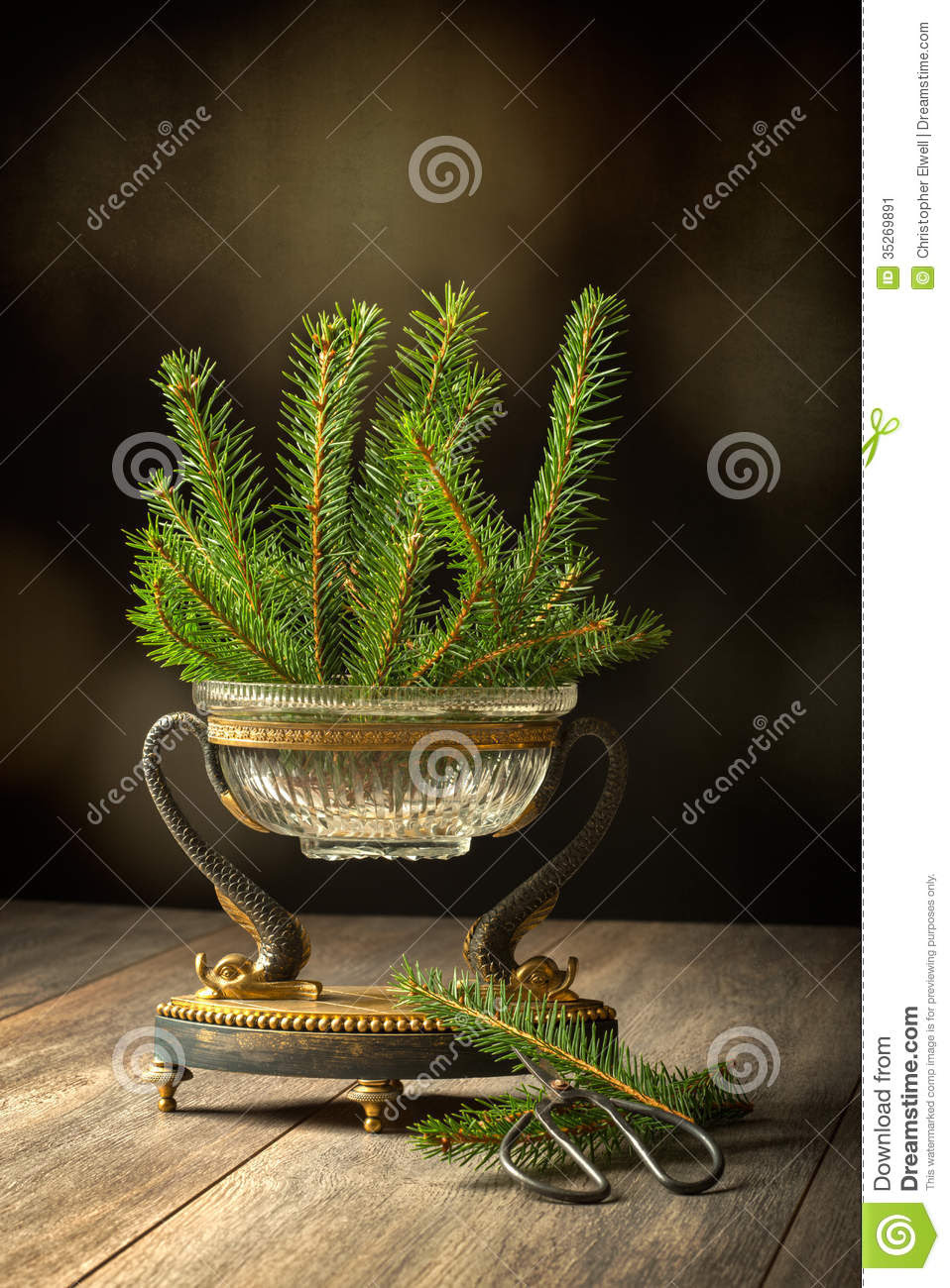 Elegant antique vase full of pine sprigs for Christmas decoration.