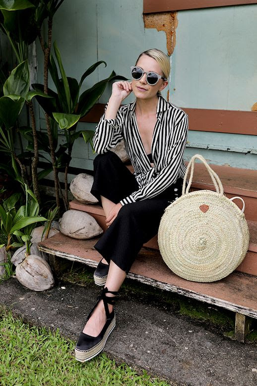 Le Fashion Blog Striped Shirt Circle Straw Tote Black Gaucho Pants Chunky Espadrille Shoes Via Atlantic Pacific