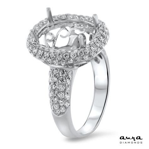 Oval Pave Engagement Ring with Halo for 5ct Stone   AR14