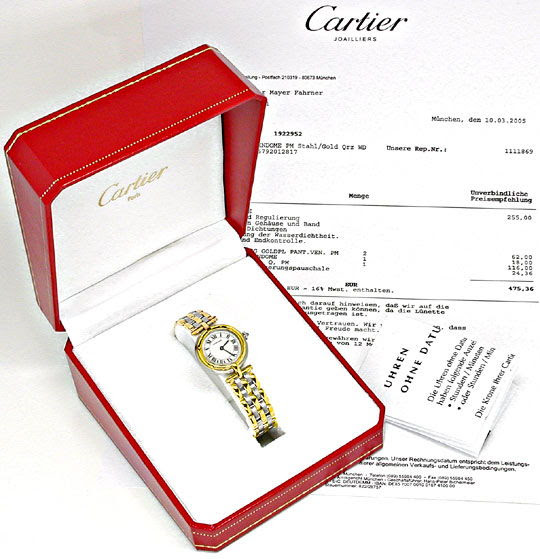 Originalfoto DAMEN CARTIER PANTHERE VENDOME, 3 STREIFEN GOLD, TOPUHR