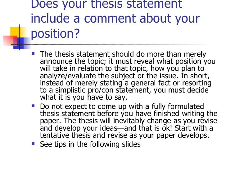what should a good thesis statement include